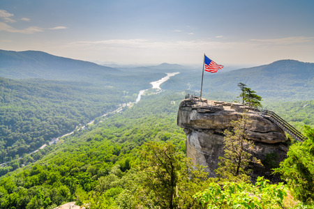Chimney Rock at Chimney Rock State Park in North Carolina, USA. Stock Photo