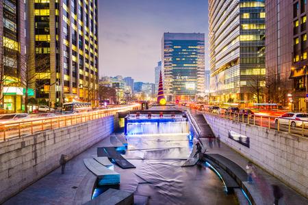 Seoul, South Korea cityscape at Cheonggye Stream. Фото со стока