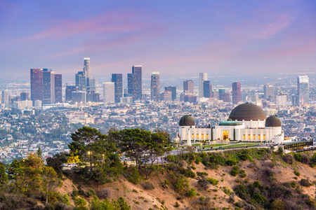 Los Angeles, California, USA downtown skyline from Griffith Park. Banco de Imagens