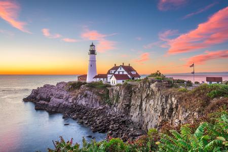 Portland, Maine, VS bij het Hoofdlicht van Portland.