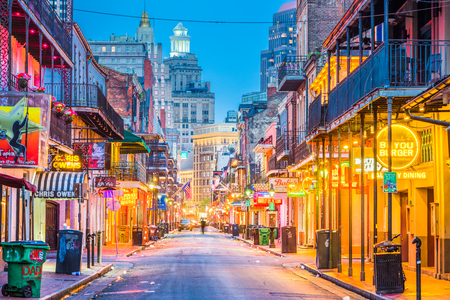 NEW ORLEANS, LOUISIANA - MAY 10, 2016: Bourbon Street in the early morning. The renown nightlife destination is in the heart of the French Quarter. 報道画像