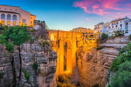 Ronda, Spain at Puente Nuevo Bridge. Фото со стока