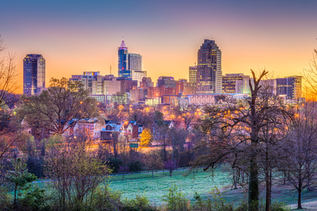 Raleigh, North Carolina, USA downtown city skyline. 版權商用圖片