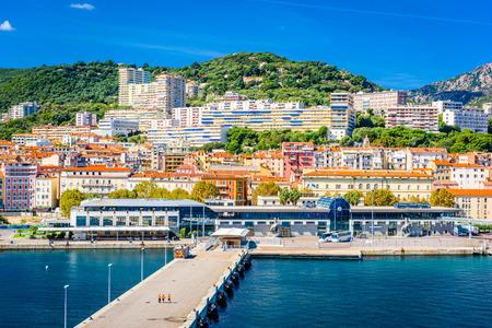 commune: Ajaccio, Corsica, France coastal skyline. Stock Photo