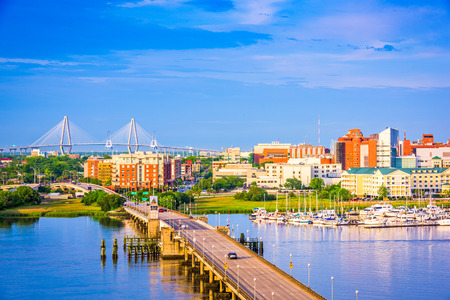 Charleston, South Carolina, USA skyline over the Ashley River.
