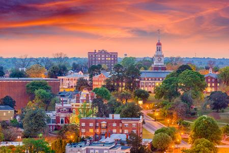マコン、ジョージア州、米国歴史的なダウンタウンのスカイライン。