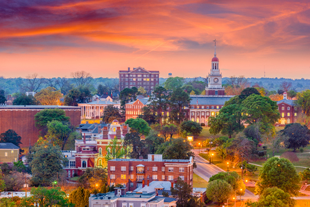 Macon, Georgia, USA historycznym centrum miasta skyline.