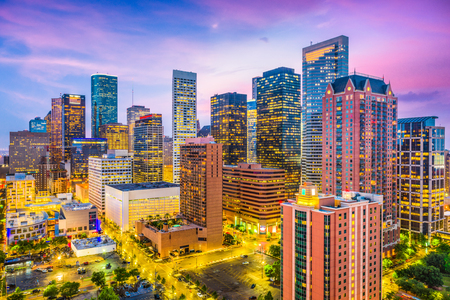 Houston, Texas, USA downtown city skyline. Banco de Imagens