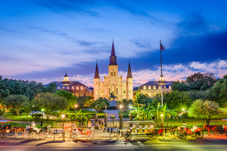 New Orleans, Louisiana, USA at St. Louis Cathedral and Jackson Square.