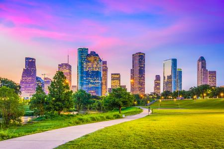 Houston, Texas, VS downtown skyline van de stad.