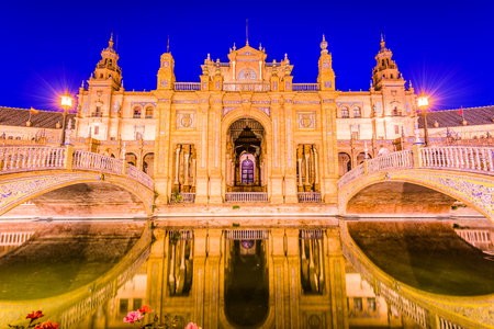 Seville, Spain at Spanish Square (Plaza de Espana). Stock Photo