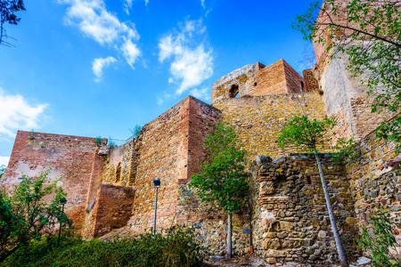 Malaga, Spain Alcazaba fortress wall.