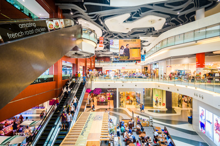 SINGAPORE - SEPTEMBER 4, 2015: The interior of Bugis+ Mall. It is located within the Bugis district of Singapore.