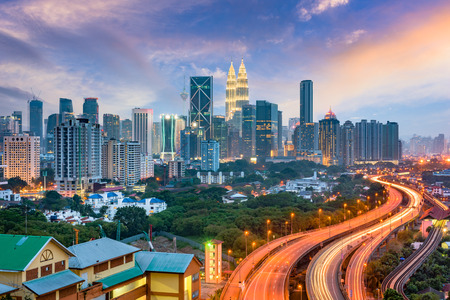 Kuala Lumpur, Malaysia highways and skyline.