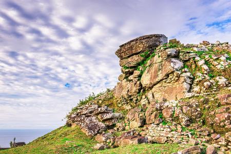 Kumejima, Okinawa, Japan ruins of Uegusuku Castle.
