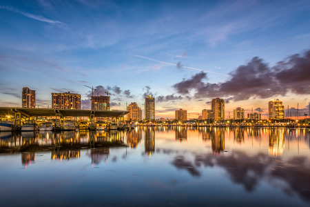 st  pete: St. Petersburg, Florida, USA downtown city skyline on the bay.