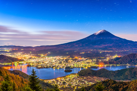 Mt. Fuji, Japan over lake Kawaguchi on an autumn morning. Stock Photo