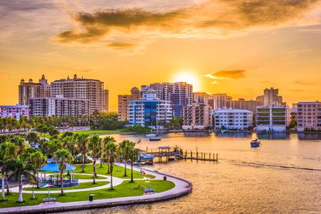 wharf: Sarasota, Florida, USA downtown skyline on the bay.