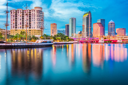 Tampa, Florida, USA downtown skyline on the river.