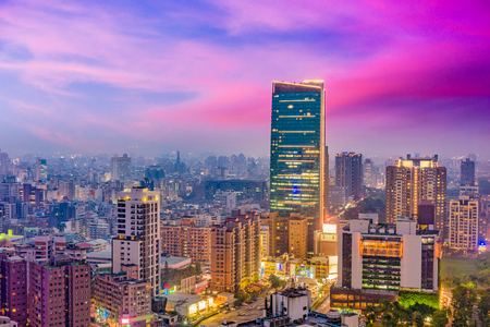 Taichung, Taiwan city skyline at night.