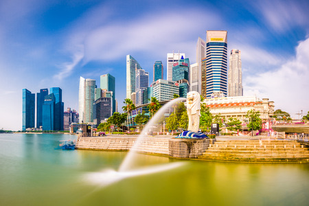 SINGAPORE - SEPTEMBER 3, 2015: The Merlion fountain at Marina Bay. The merlion is a marketing icon used as a mascot and national personification of Singapore. Editorial