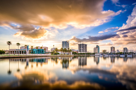pete: St. Petersburg, Florida, USA downtown city skyline on the bay.