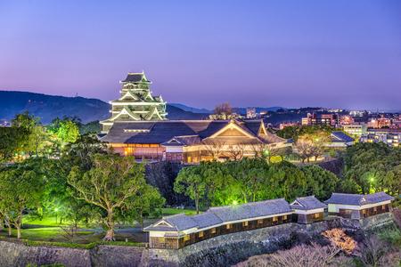 Kumamoto, Japan at Kumamoto Castle at night.