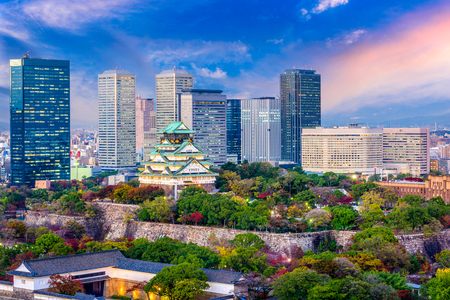 Osaka, Japan cityscape and castle. Stock Photo
