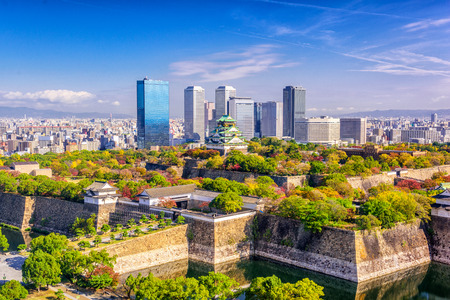 restored: Osaka, Japan cityscape and castle. Stock Photo