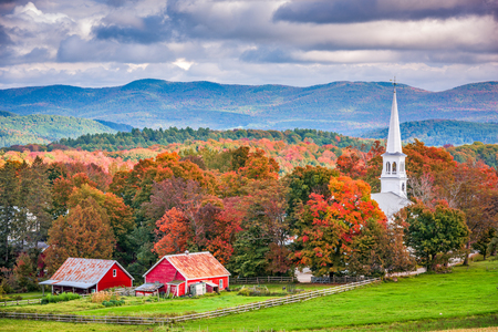 Peacham, Vermont, USA rural autumn scene.