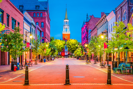 retail scene: Burlington, Vermont, USA at Church Street Marketplace. Stock Photo
