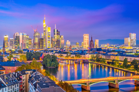 Frankfurt am Main, Germany downtown city skyline.