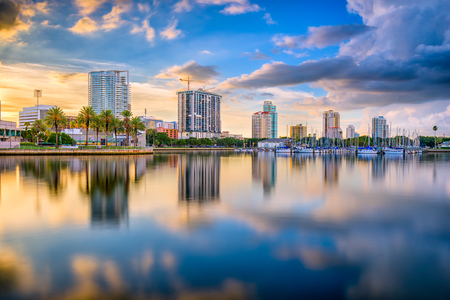 St. Petersburg, Florida, USA downtown city skyline on the bay.