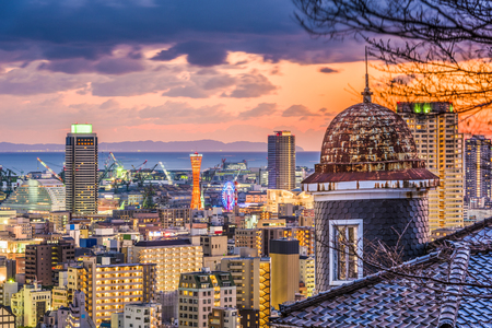 Kobe, Japan historic homes and skyline.