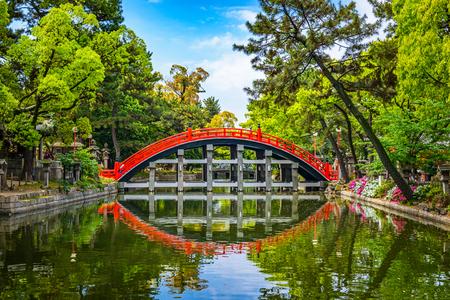 Osaka, Japan at the Taiko Drum Bridge of Sumiyoshi Taisha Grand Shrine.