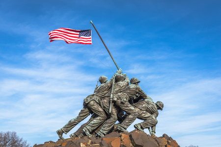 WASHINGTON, DC - APRIL 5, 2015: Marine Corps War Memorial. The memorial features the statues of servicemen who raised the second U.S. flag on Iwo Jima during World War II. 에디토리얼