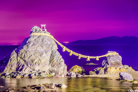 Meoto Iwa Rock of Ise, Japan. Stock Photo