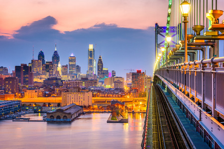 Philadelphia, Pennsylvania, USA downtown skyline from the Benjamin Franklin Bridge. Stock Photo