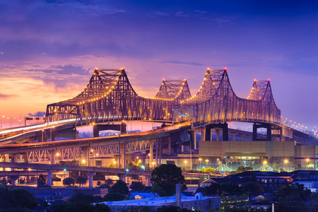 New Orleans, Louisiana, USA at Crescent City Connection Bridge. 스톡 콘텐츠