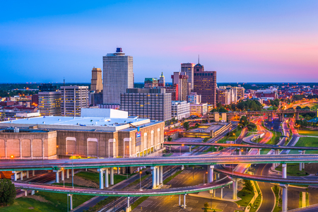 Memphis, Tennessee, USA downtown skyline at dusk.