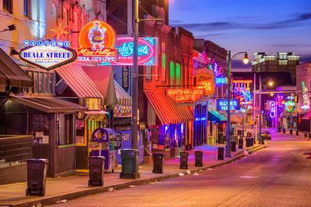 MEMPHIS, TENNESSEE - AUGUST 25, 2017: Blues Clubs on Beale Street at twilight.