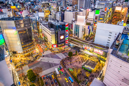 Shibuya, Tokyo, Japan cityscape over Shibuya Crossing.