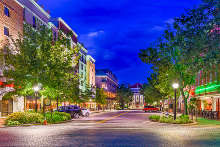 Gainesville, Florida, USA downtown at twilight.