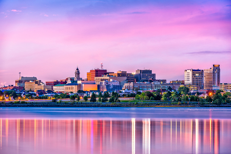 Portland, Maine, USA downtown skyline from Back Cove. Фото со стока