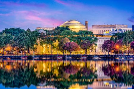 mit: Cambridge, Massachusetts, USA skyline at twilight. Stock Photo