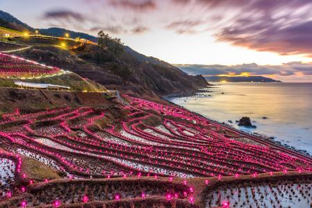 Wajima, Japan at Shiroyone Senmaida rice terraces night light up.