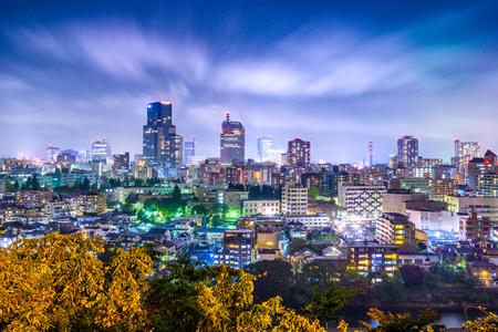仙台、宮城県都市景観夜 写真素材