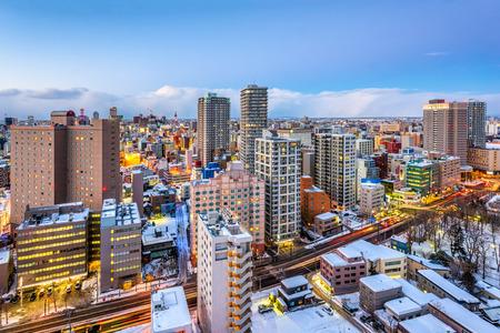 Sapporo, cityscape van de binnenstad van Japan bij schemer. Stockfoto