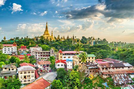 Yangon, Myanmar skyline with Shwedagon Pagoda. Stock Photo