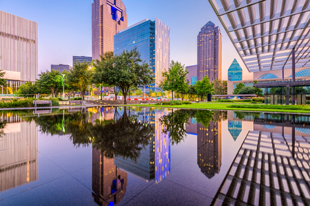 Dallas, Texas, USA downtown cityscape at twilight. Stock Photo